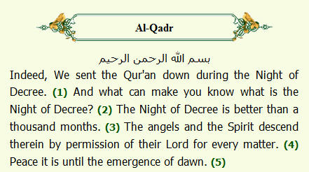 Surah e qadr translation in english